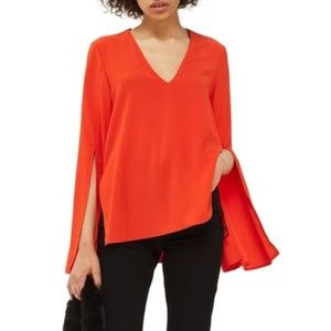 Topshop 2 slit bell long sleeve red v-neck blouse